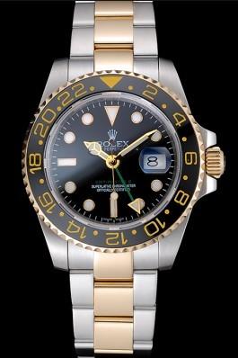 Replica swiss rolex gmt master yellow gold bezel black dial